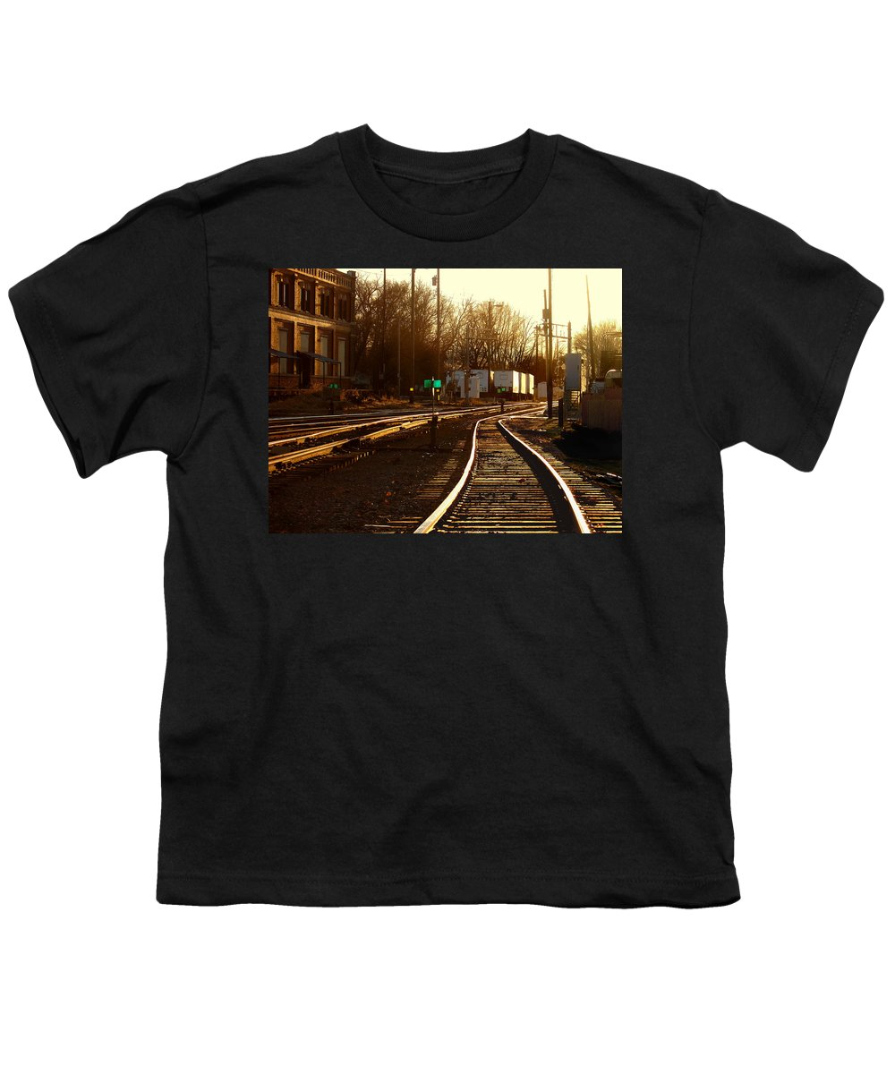 Landscape Youth T-Shirt featuring the photograph Down The Right Track 2 by Steve Karol