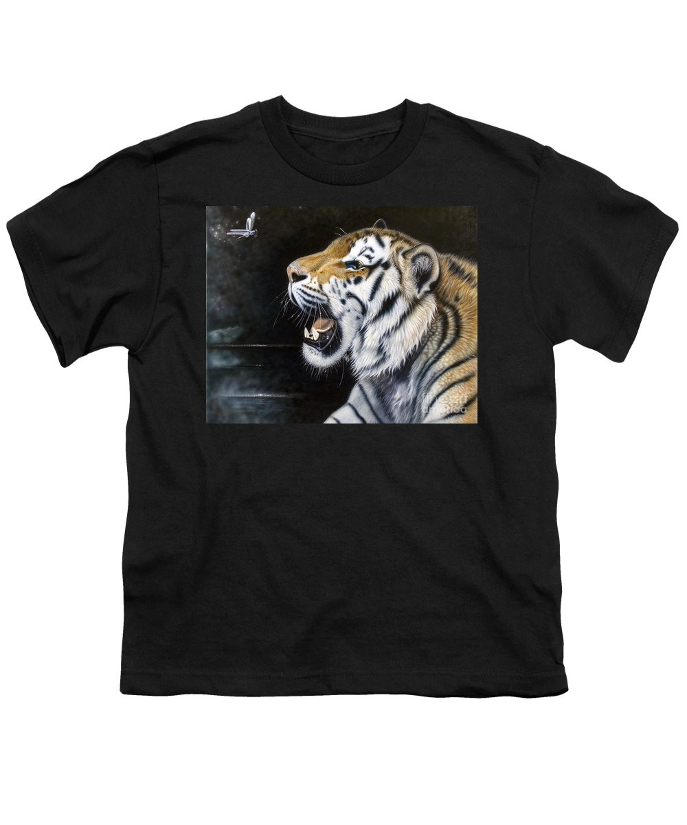 Tiger Youth T-Shirt featuring the painting Dragonfly by Sandi Baker