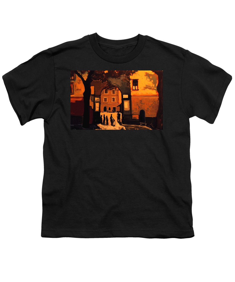 Cityscape Youth T-Shirt featuring the painting Dusk by Kurt Hausmann