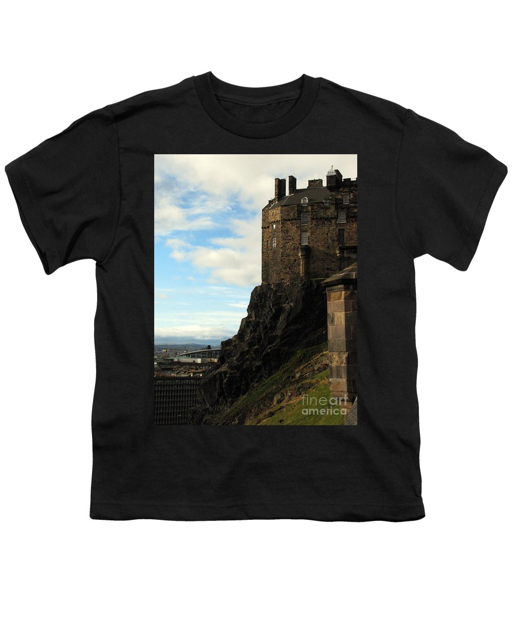 Castle Youth T-Shirt featuring the photograph Edinburgh Castle by Amanda Barcon