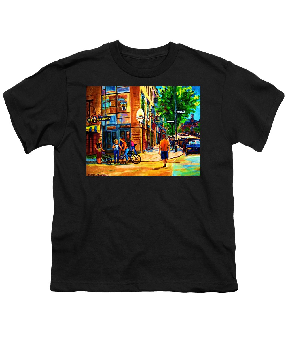 Eggspectation Cafe On Esplanade Youth T-Shirt featuring the painting Eggspectation Cafe On Esplanade by Carole Spandau