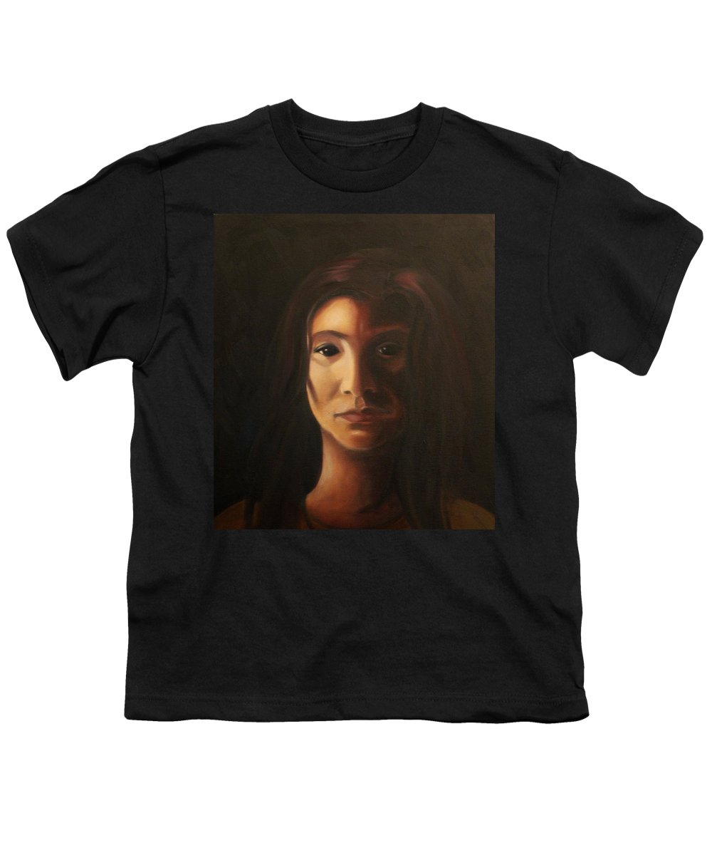 Woman In The Dark Youth T-Shirt featuring the painting Endure by Toni Berry