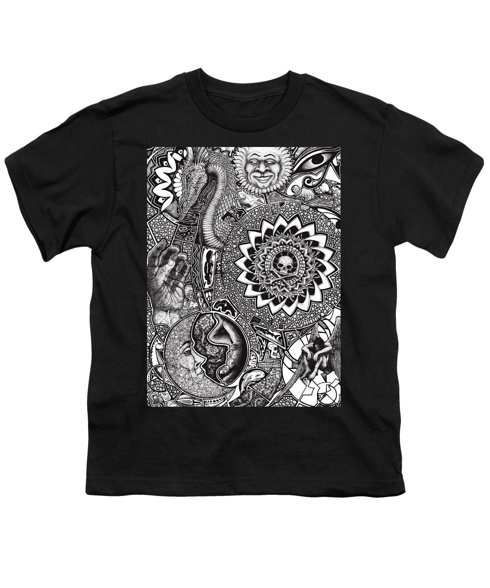 Black And White Youth T-Shirt featuring the drawing Epiphany by Tobey Anderson