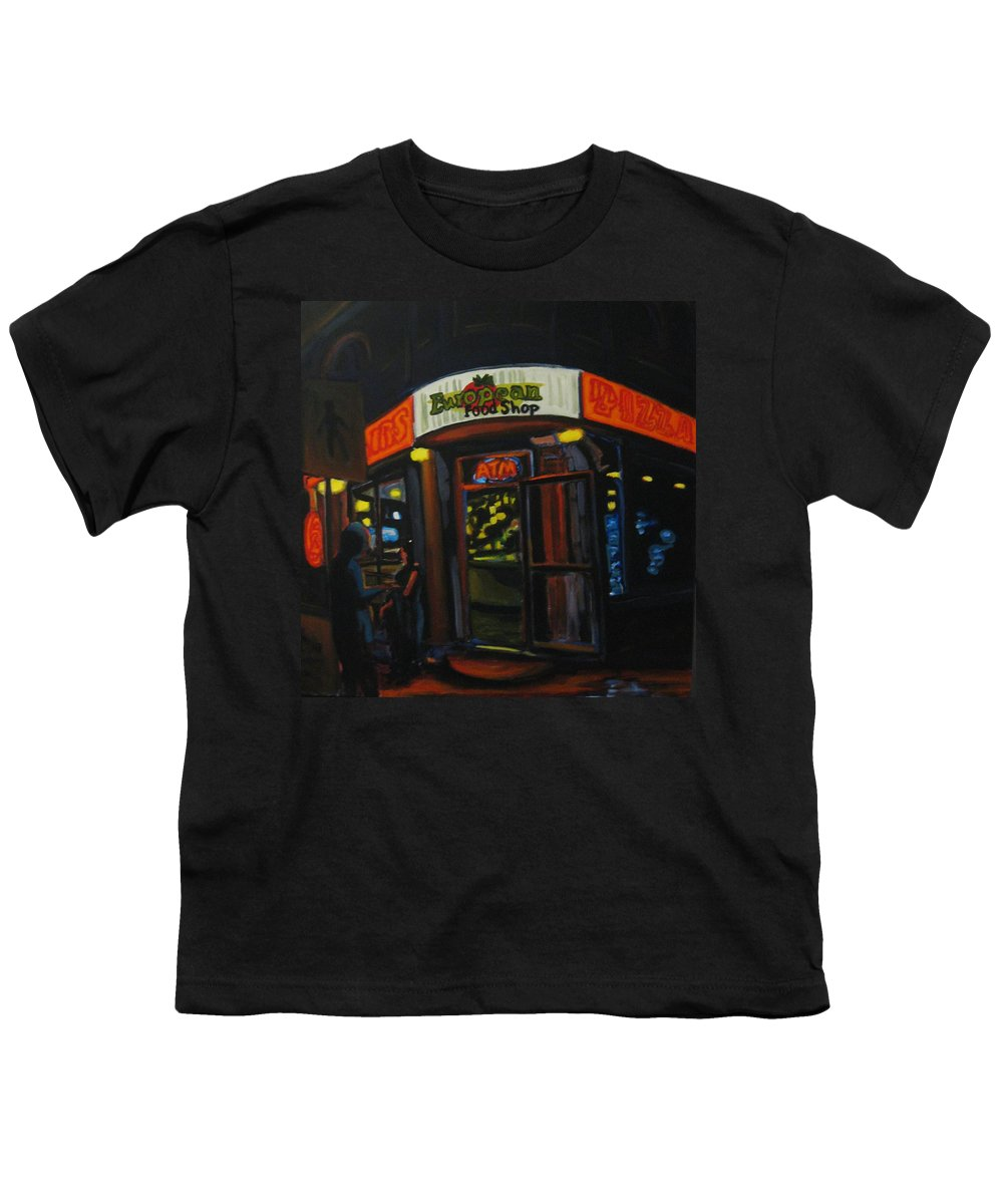 City Youth T-Shirt featuring the painting European Food Shop by John Malone