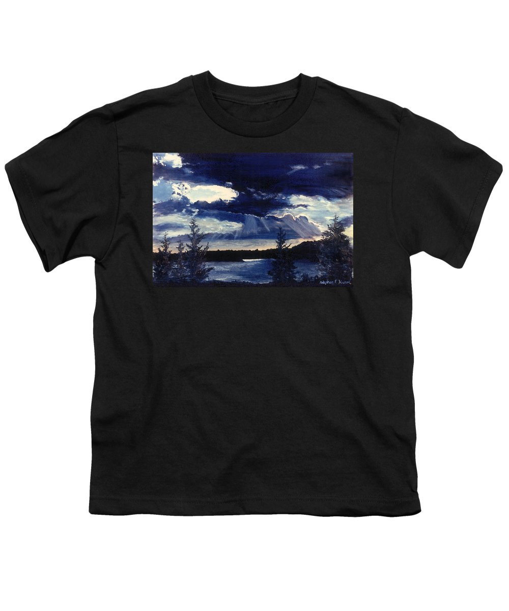Landscape Youth T-Shirt featuring the painting Evening Lake by Steve Karol