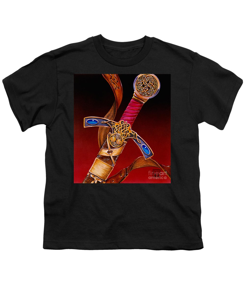 Swords Youth T-Shirt featuring the mixed media Excalibur by Melissa A Benson