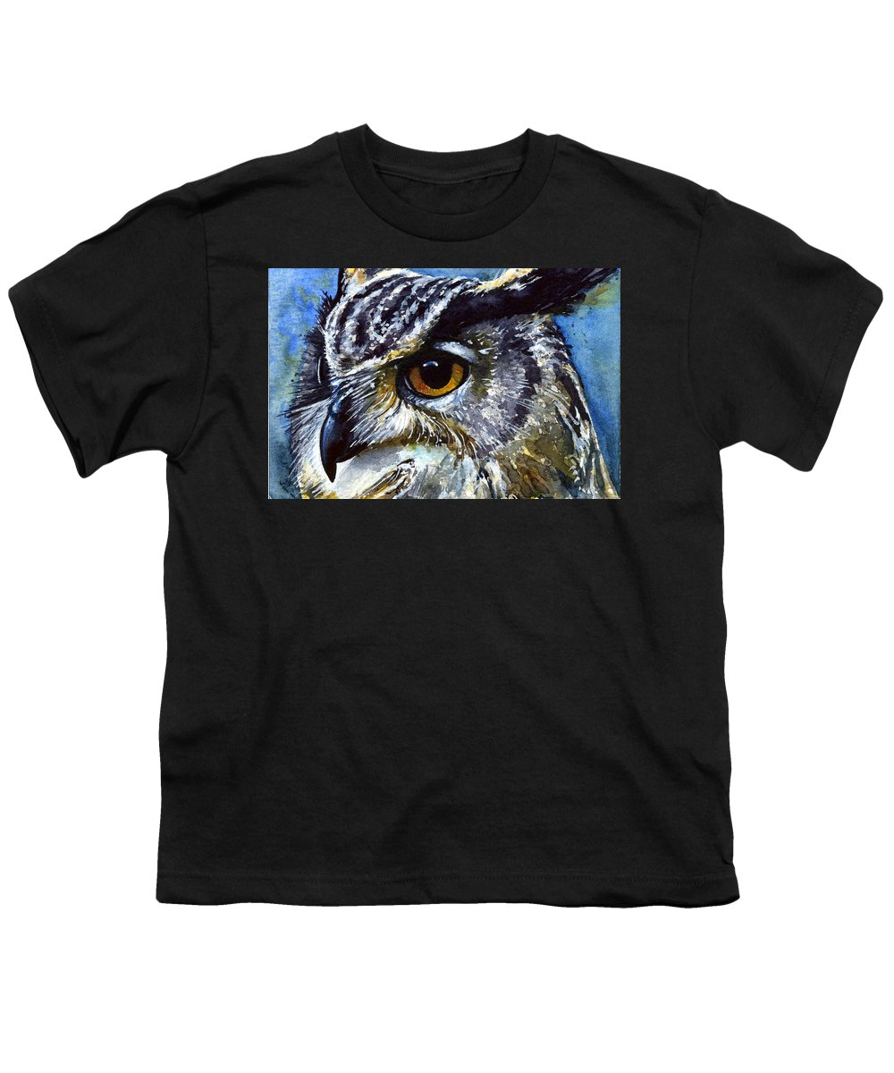 Owls Youth T-Shirt featuring the painting Eyes Of Owls No.25 by John D Benson