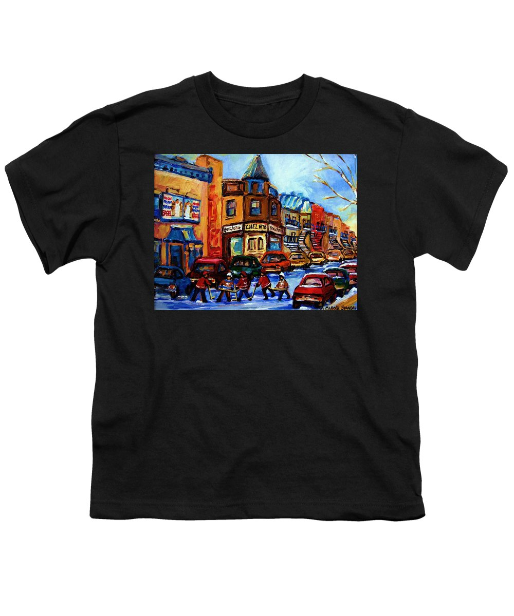 Hockey Youth T-Shirt featuring the painting Fairmount Bagel With Hockey Game by Carole Spandau