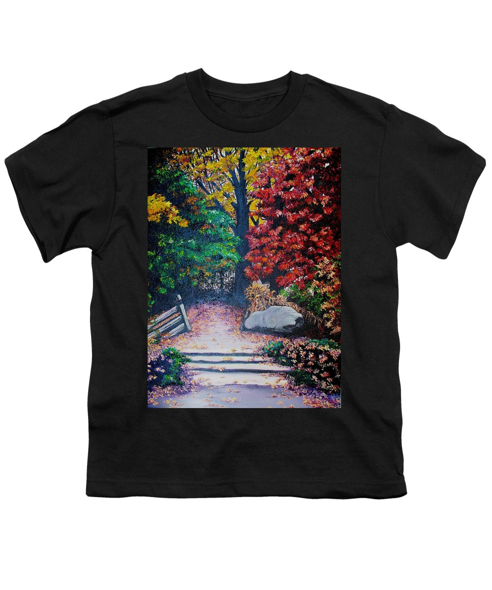 A N Original Painting Of An Autumn Scene In The Gateneau In Quebec Youth T-Shirt featuring the painting Fall In Quebec Canada by Karin Dawn Kelshall- Best