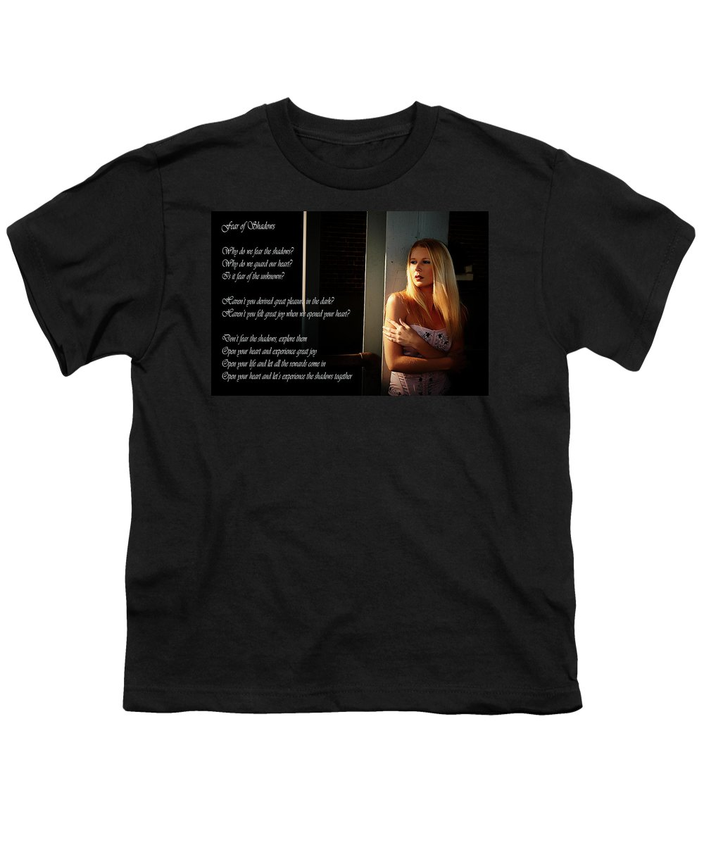 Clay Youth T-Shirt featuring the photograph Fear Of Shadows by Clayton Bruster
