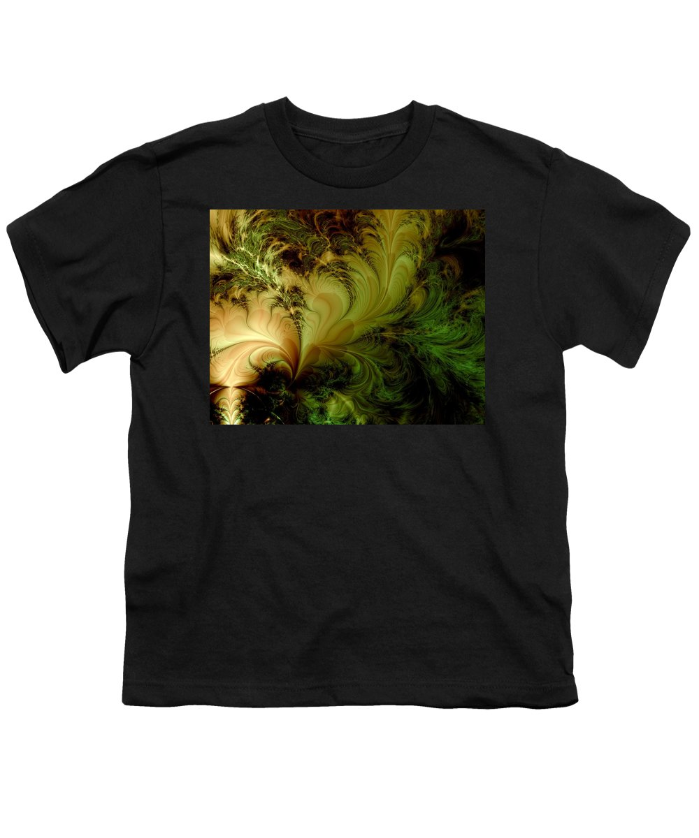 Feather Youth T-Shirt featuring the digital art Feathery Fantasy by Casey Kotas