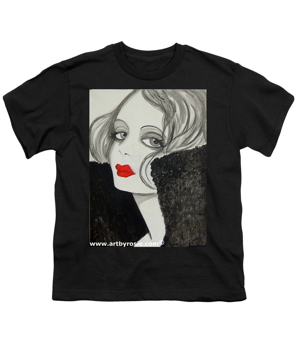 Cinema Youth T-Shirt featuring the painting Femme Fatale by Rosie Harper