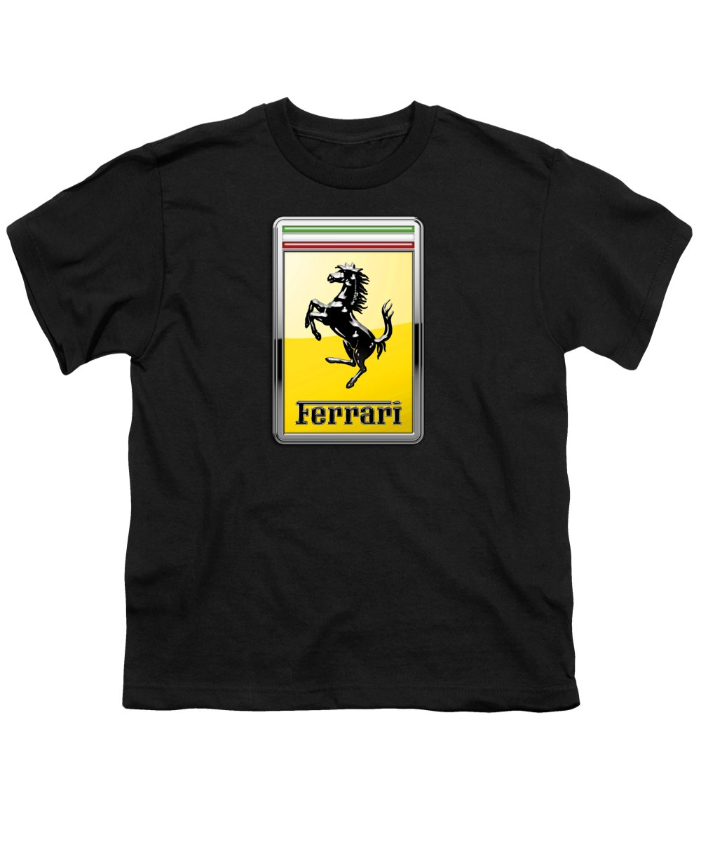 �auto Badges� Collection By Serge Averbukh Youth T-Shirt featuring the photograph Ferrari 3d Badge- Hood Ornament On Black by Serge Averbukh
