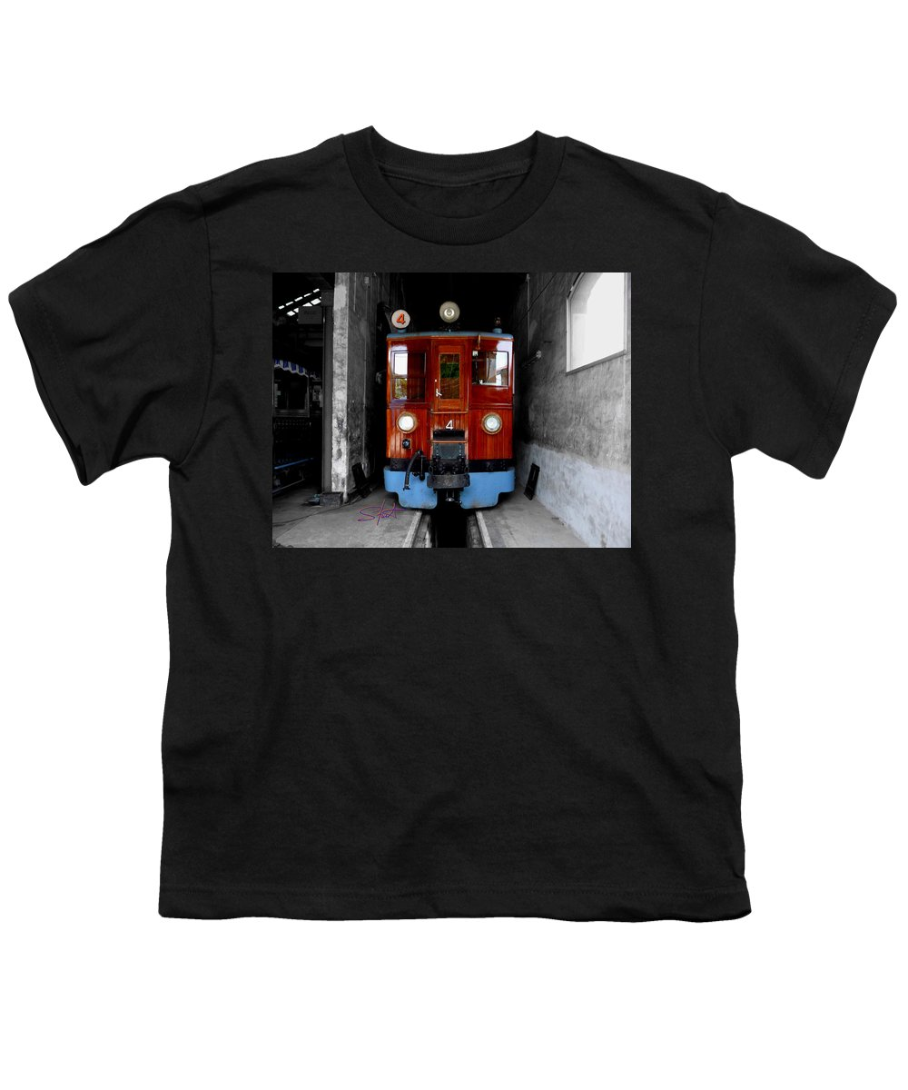 Train Youth T-Shirt featuring the photograph Ferrocarrril De Soller by Charles Stuart