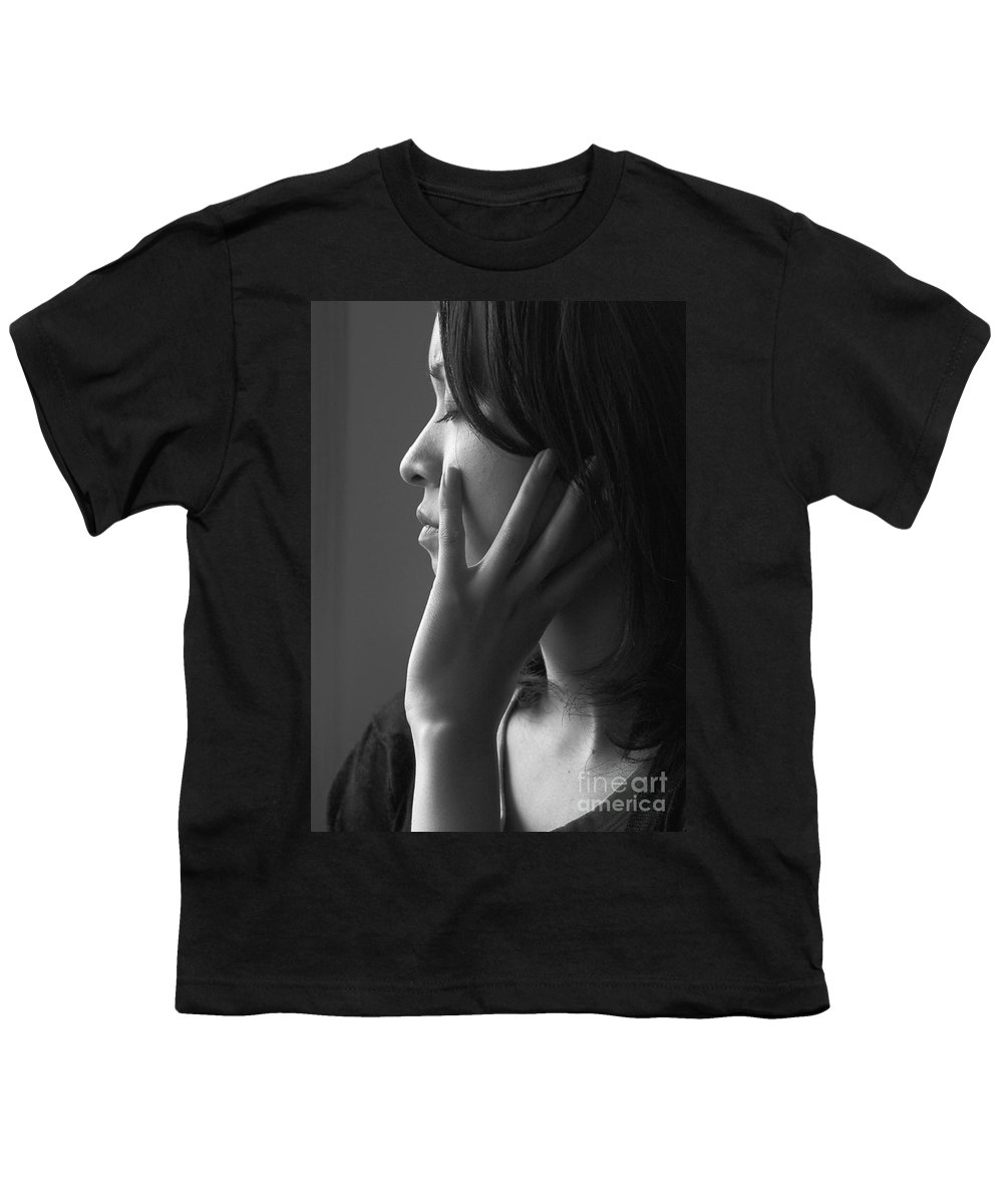 Woman Girl Candid Monochrome Hand Youth T-Shirt featuring the photograph Ferry Girl by Sheila Smart Fine Art Photography