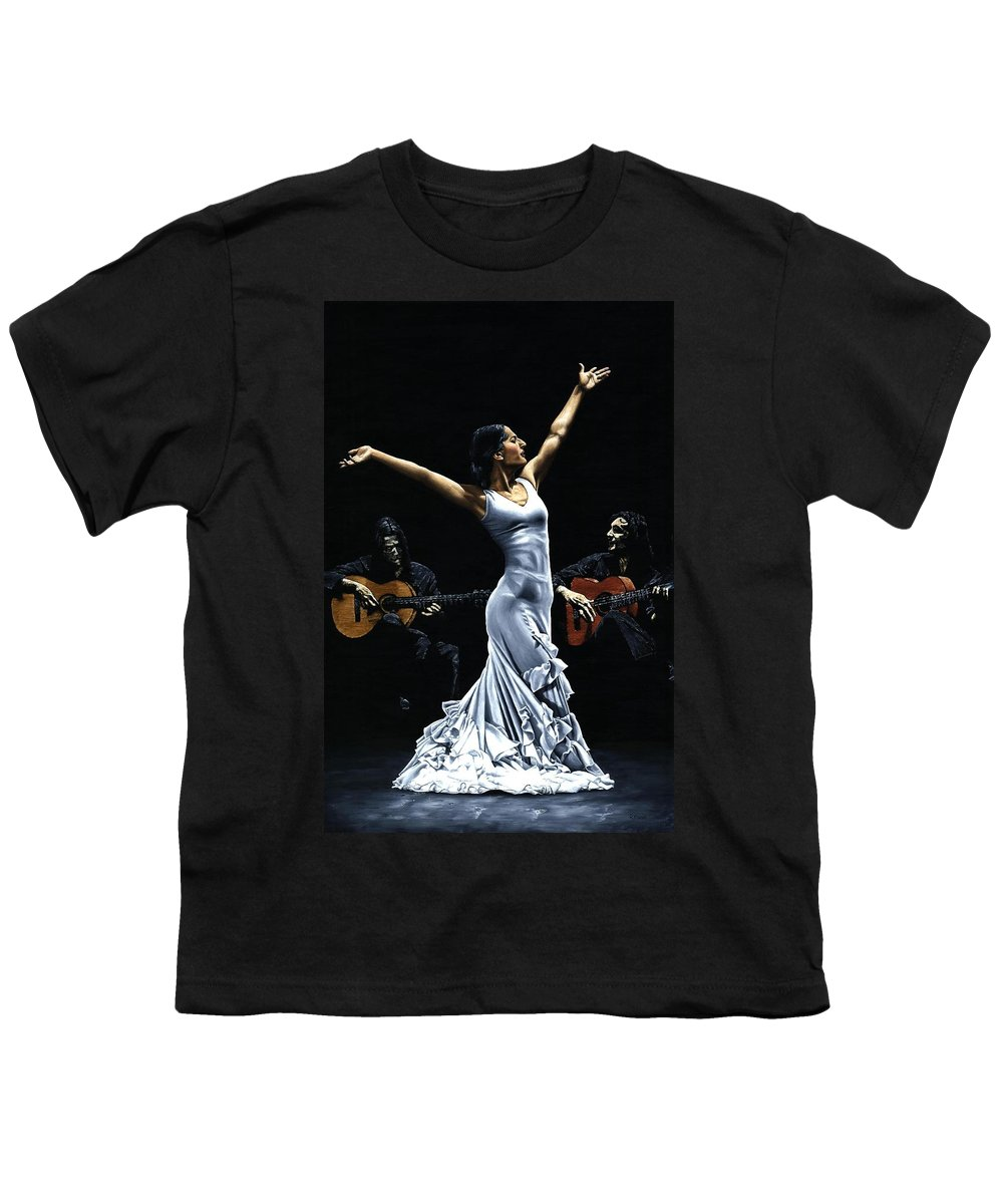 Flamenco Youth T-Shirt featuring the painting Finale Del Funcionamiento Del Flamenco by Richard Young