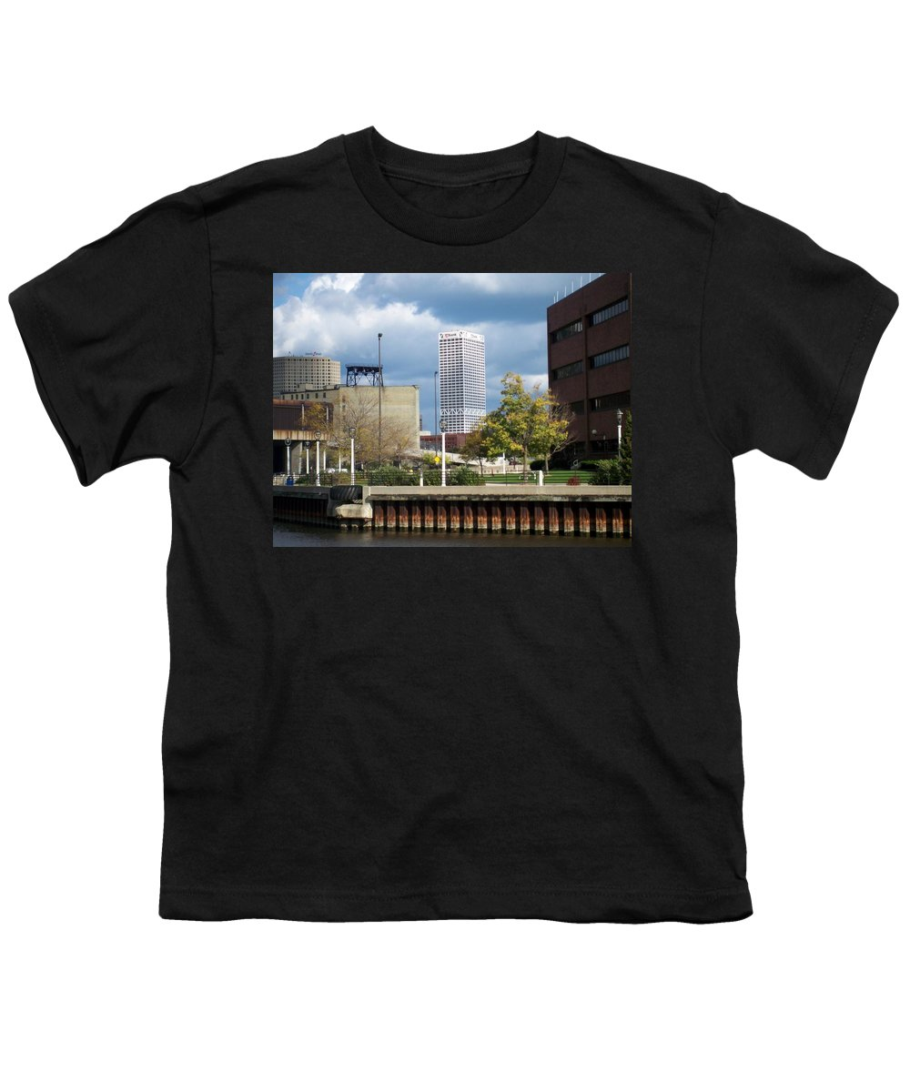 First Star Bank Youth T-Shirt featuring the photograph First Star View From River by Anita Burgermeister