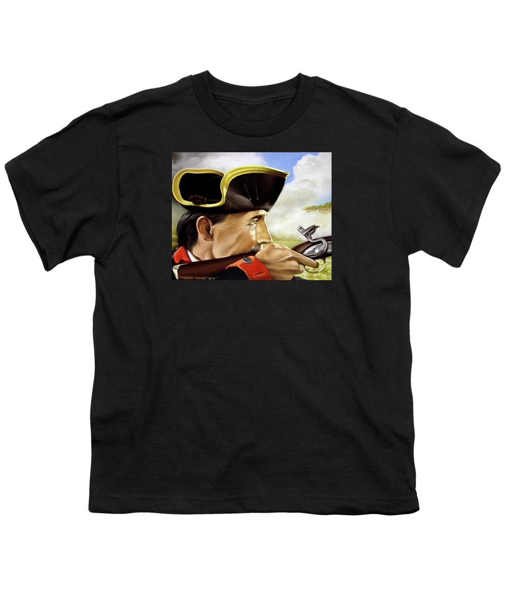 Continental Youth T-Shirt featuring the painting First To Fight by Marc Stewart