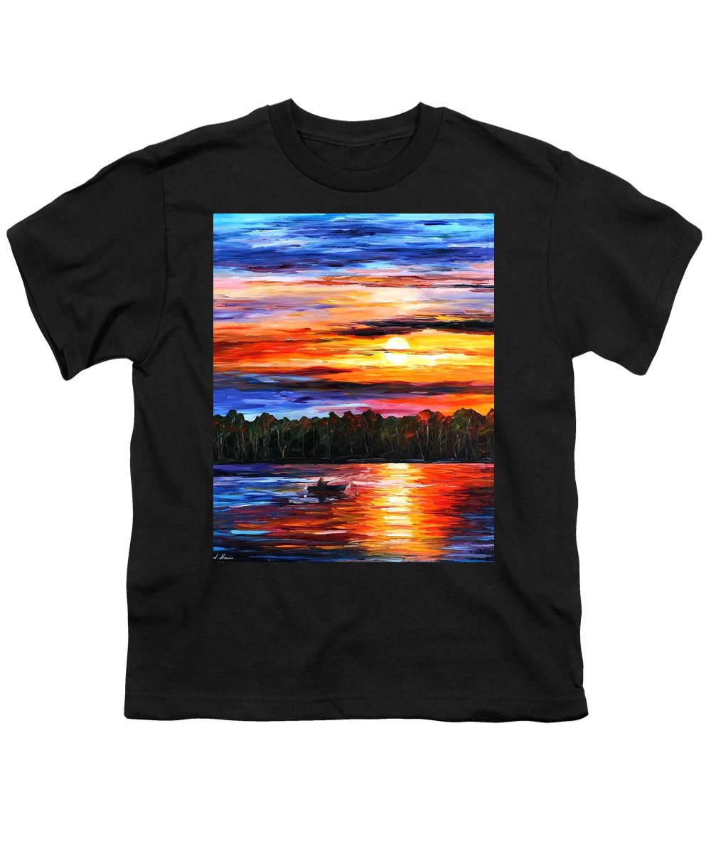 Seascape Youth T-Shirt featuring the painting Fishing By The Sunset by Leonid Afremov