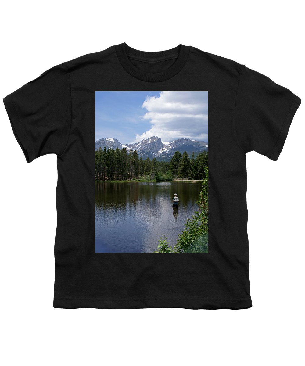 Fishing Youth T-Shirt featuring the photograph Fishing In Colorado by Heather Coen