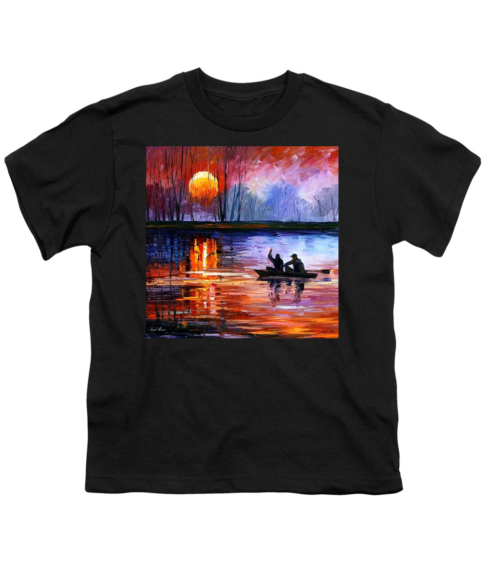 Seascape Youth T-Shirt featuring the painting Fishing On The Lake by Leonid Afremov