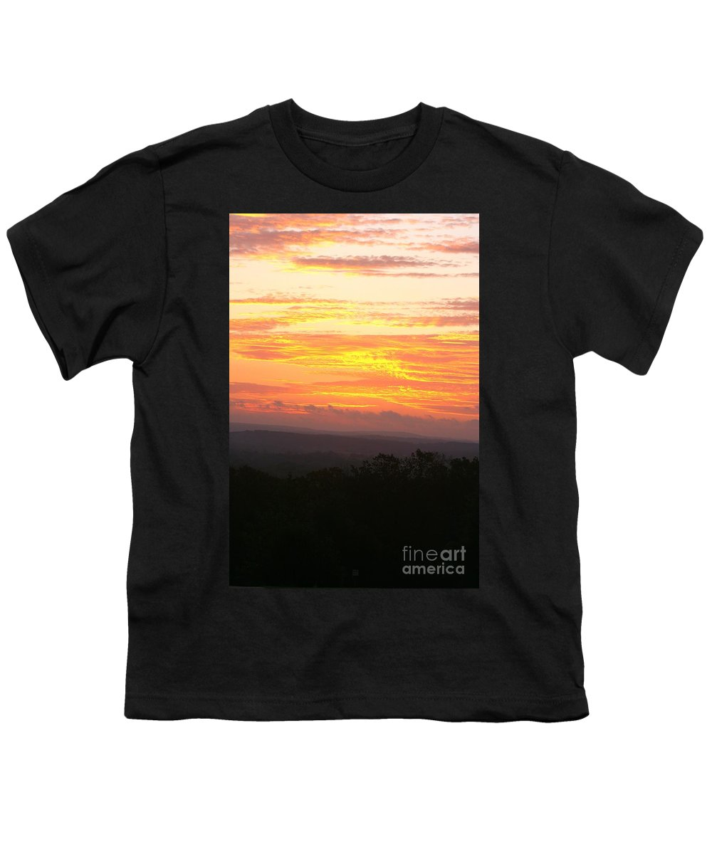 Sunrise Youth T-Shirt featuring the photograph Flaming Autumn Sunrise by Nadine Rippelmeyer