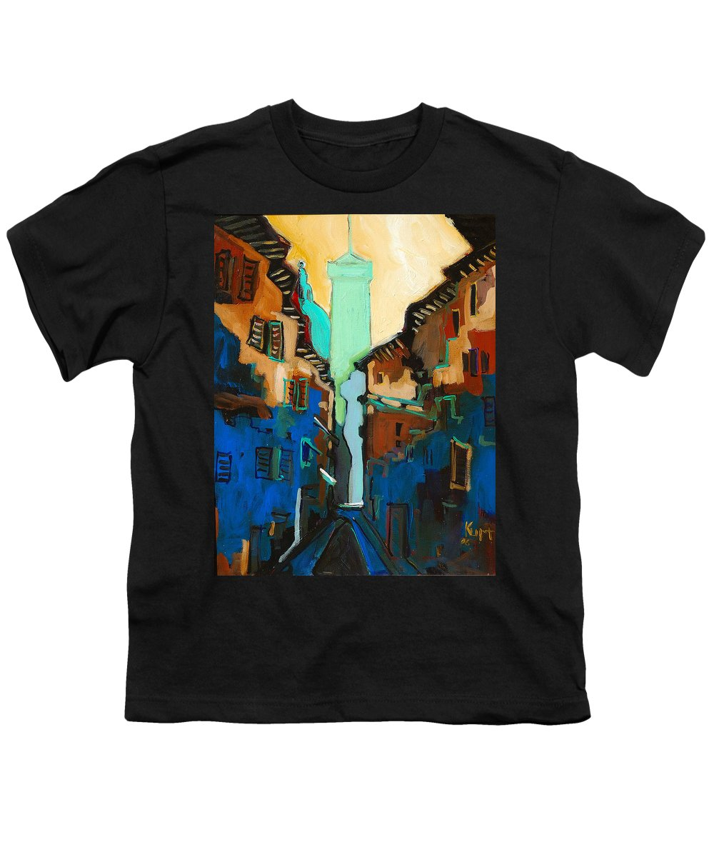 Florence Youth T-Shirt featuring the painting Florence Street Study by Kurt Hausmann