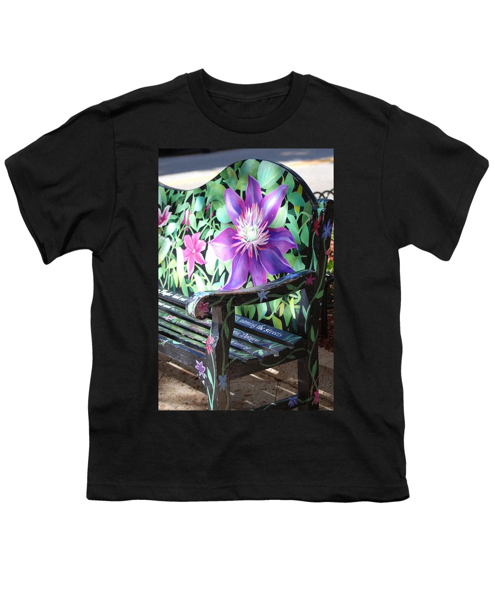 Macro Youth T-Shirt featuring the photograph Flower Bench by Rob Hans