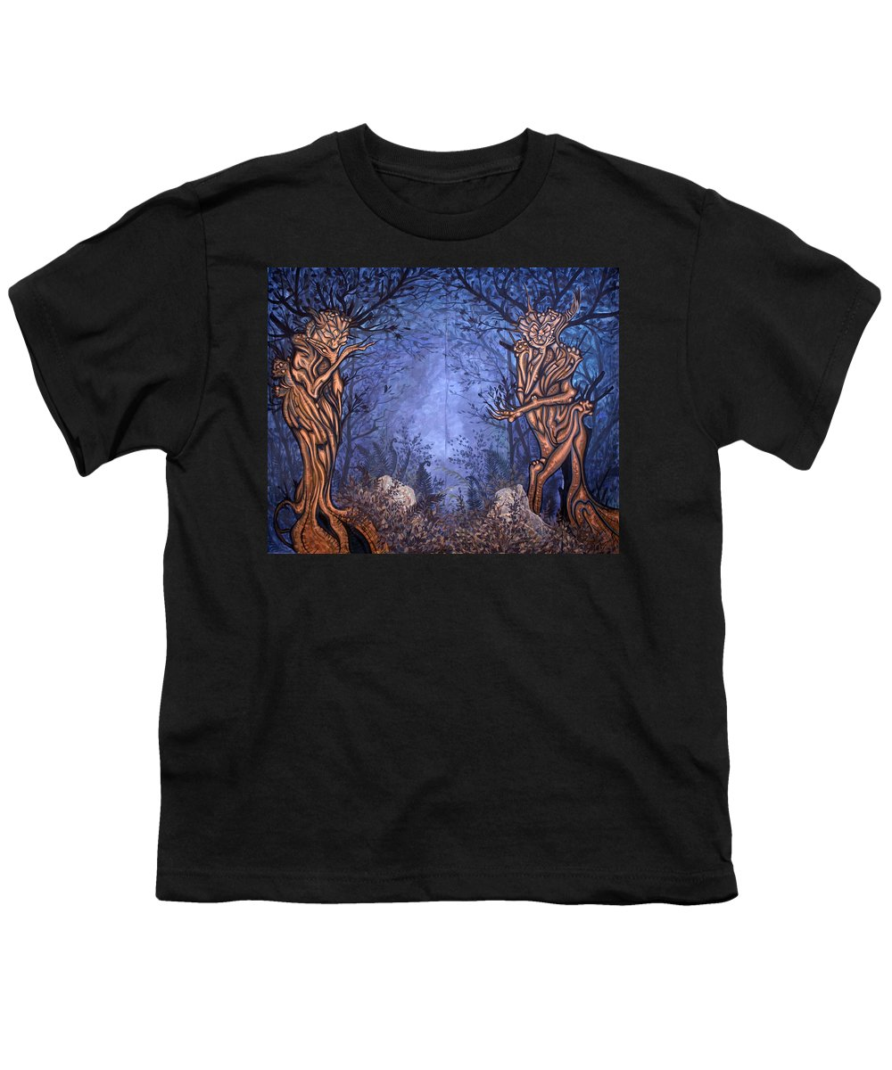 Mystic Youth T-Shirt featuring the painting Forest by Judy Henninger