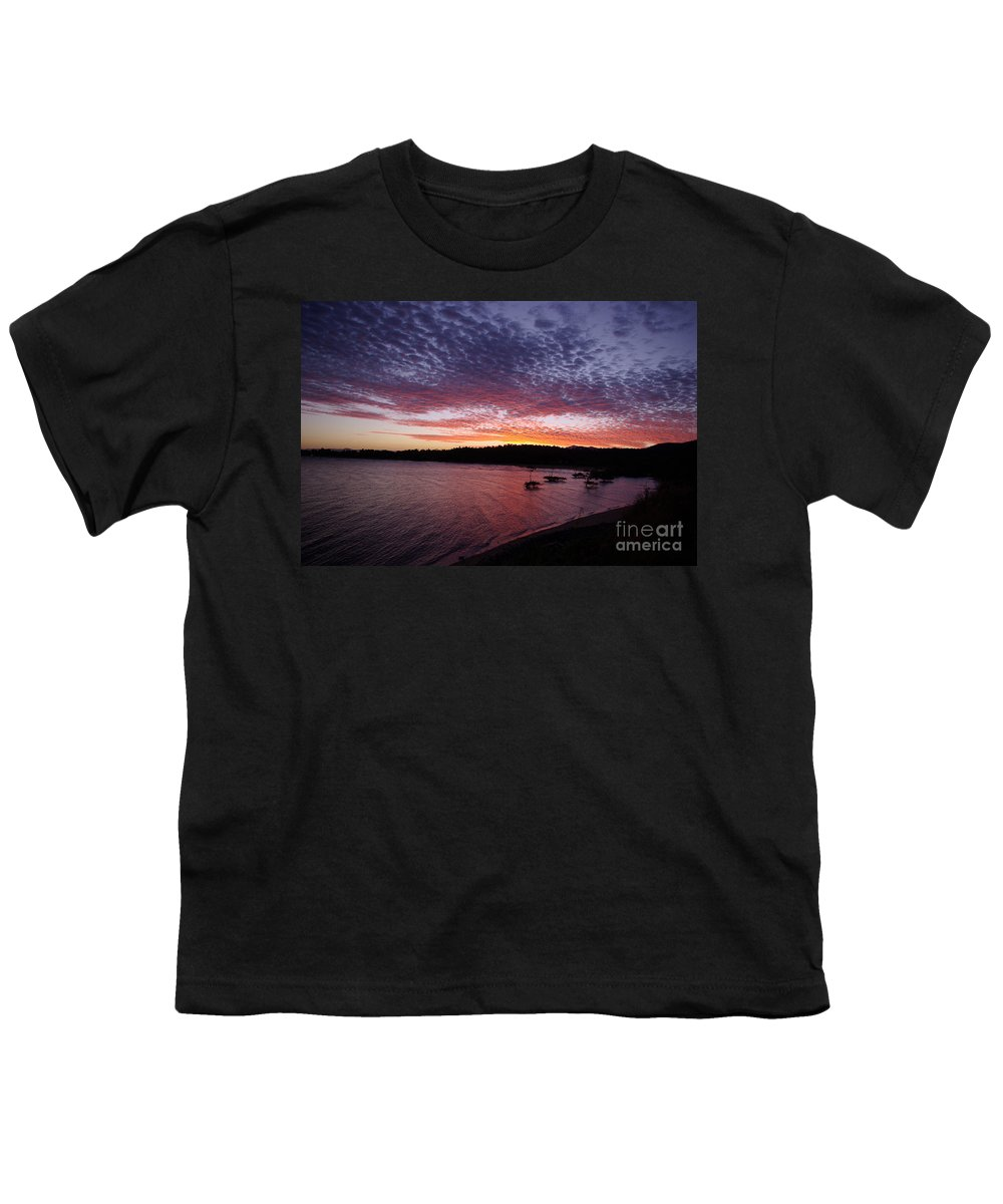 Landscape Youth T-Shirt featuring the photograph Four Elements Sunset Sequence 1 Coconuts Qld by Kerryn Madsen - Pietsch