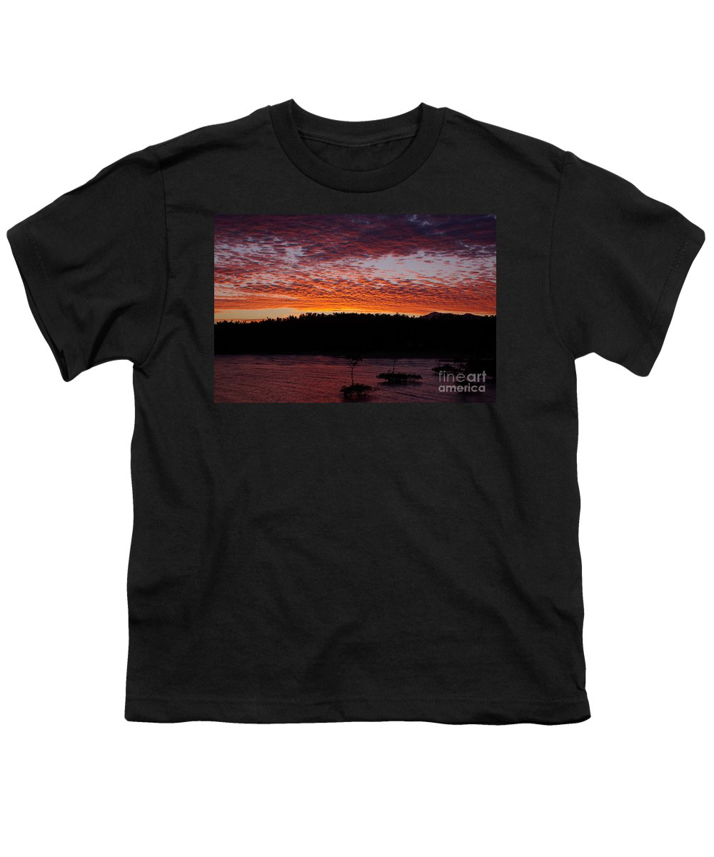 Landscape Youth T-Shirt featuring the photograph Four Elements Sunset Sequence 2 Coconuts Qld by Kerryn Madsen - Pietsch
