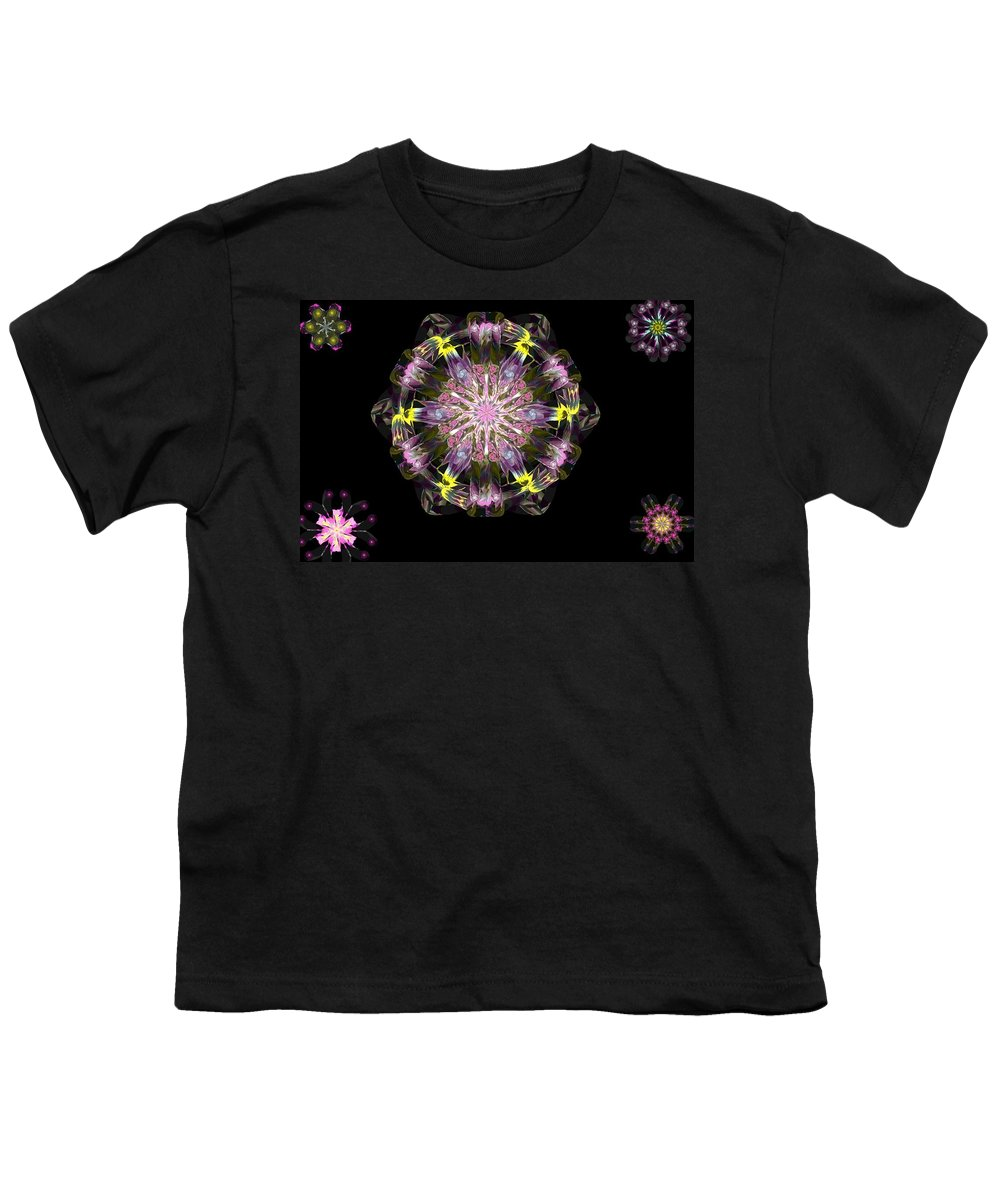 Digital Painting Youth T-Shirt featuring the digital art Fractal Flowers 10-20-09 by David Lane