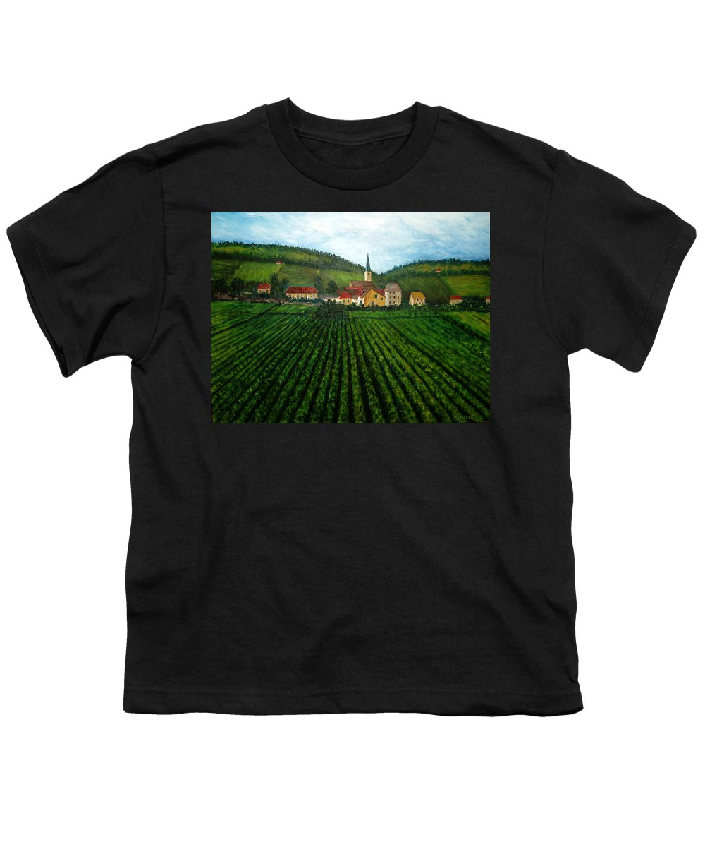 Acrylic Youth T-Shirt featuring the painting French Village In The Vineyards by Nancy Mueller