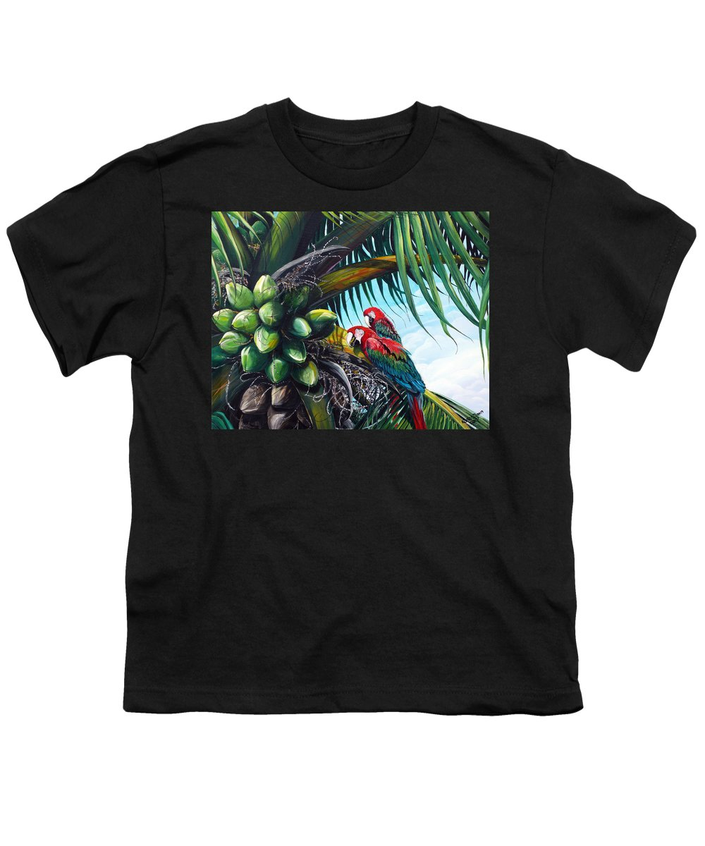 Macaws Bird Painting Coconut Palm Tree Painting Parrots Caribbean Painting Tropical Painting Coconuts Painting Palm Tree Greeting Card Painting Youth T-Shirt featuring the painting Friends Of A Feather by Karin Dawn Kelshall- Best