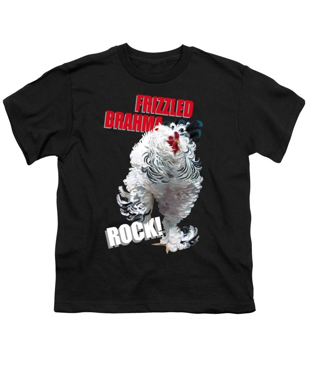 Frizzled Brahma Light Brahma Youth T-Shirt featuring the digital art Frizzled Brahma T-shirt Print by Sigrid Van Dort
