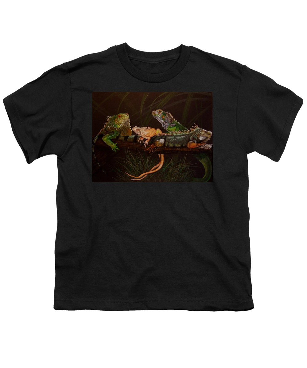 Iguana Youth T-Shirt featuring the drawing Full House by Barbara Keith