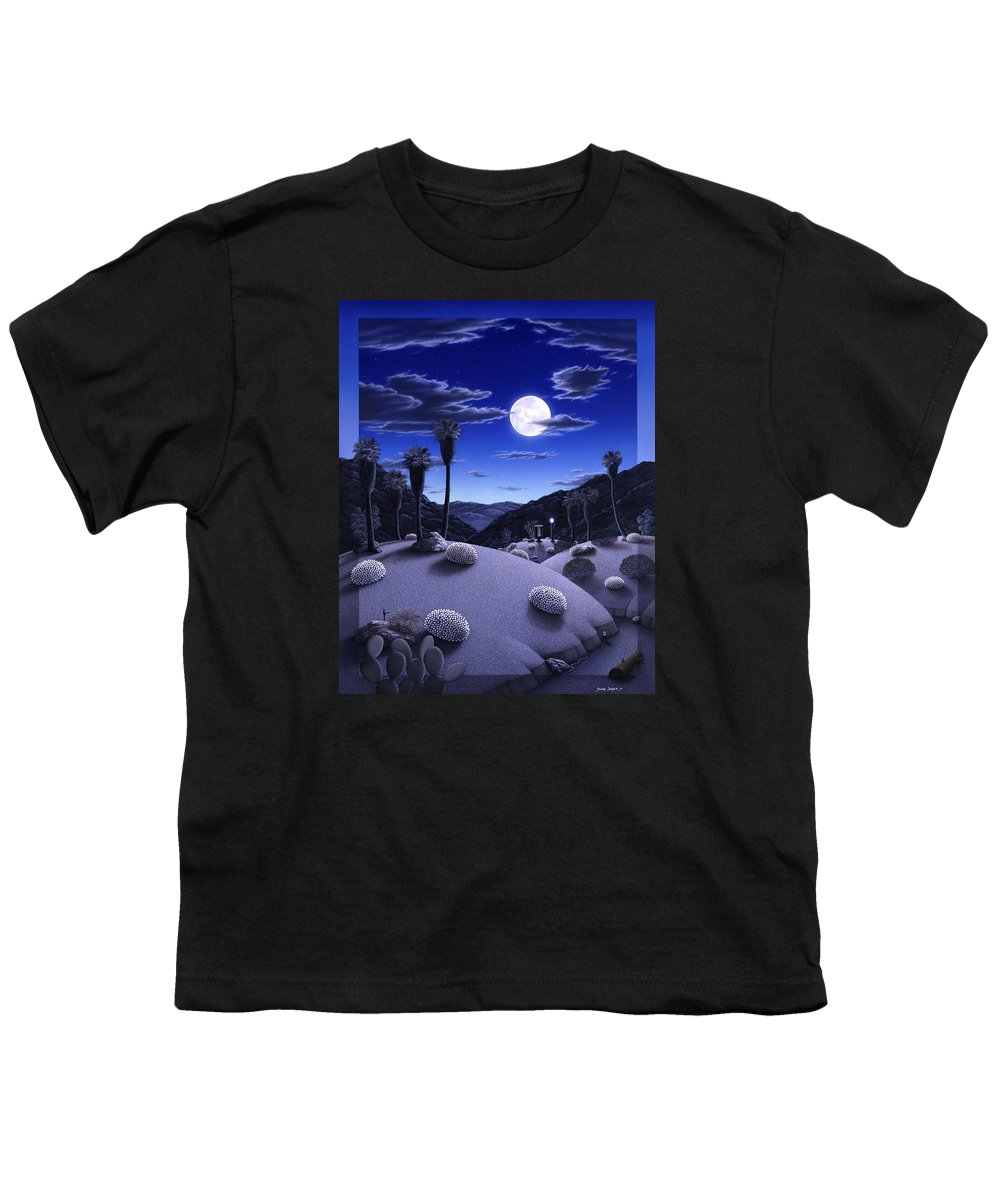 Desert Youth T-Shirt featuring the painting Full Moon Rising by Snake Jagger