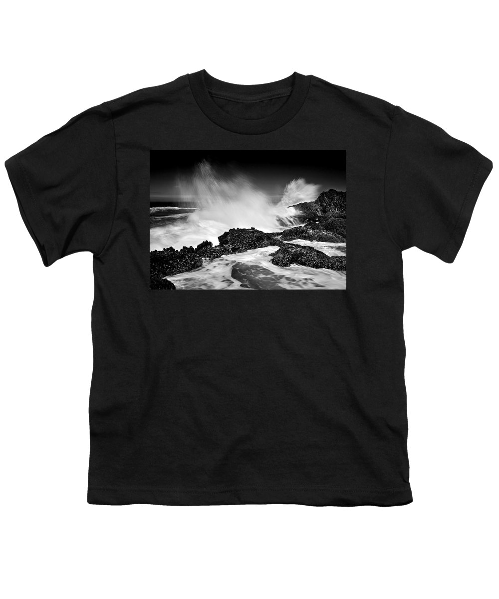 Waves Youth T-Shirt featuring the photograph Fury by Mike Dawson