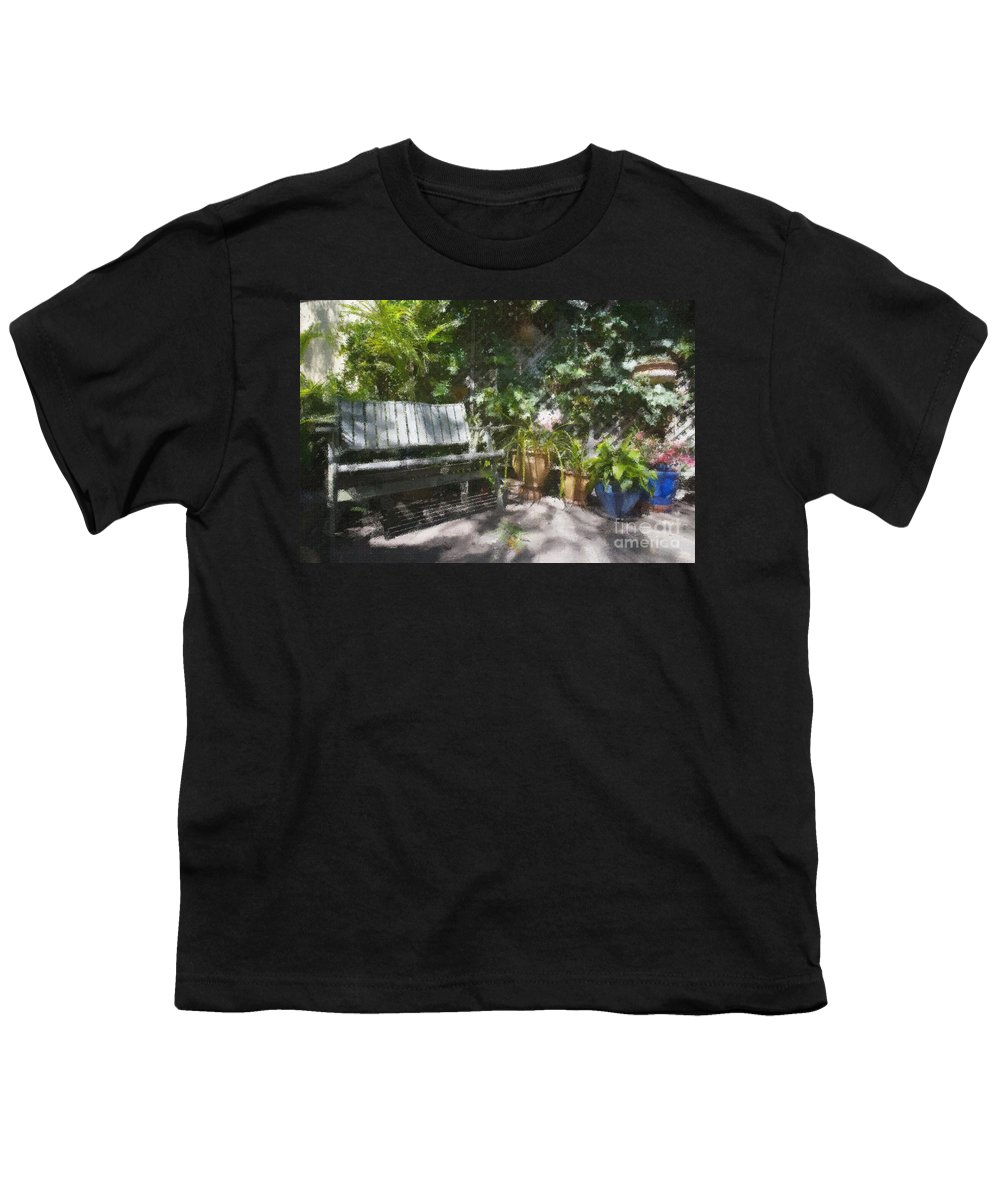 Garden Bench Flowers Impressionism Youth T-Shirt featuring the photograph Garden Bench by Sheila Smart Fine Art Photography
