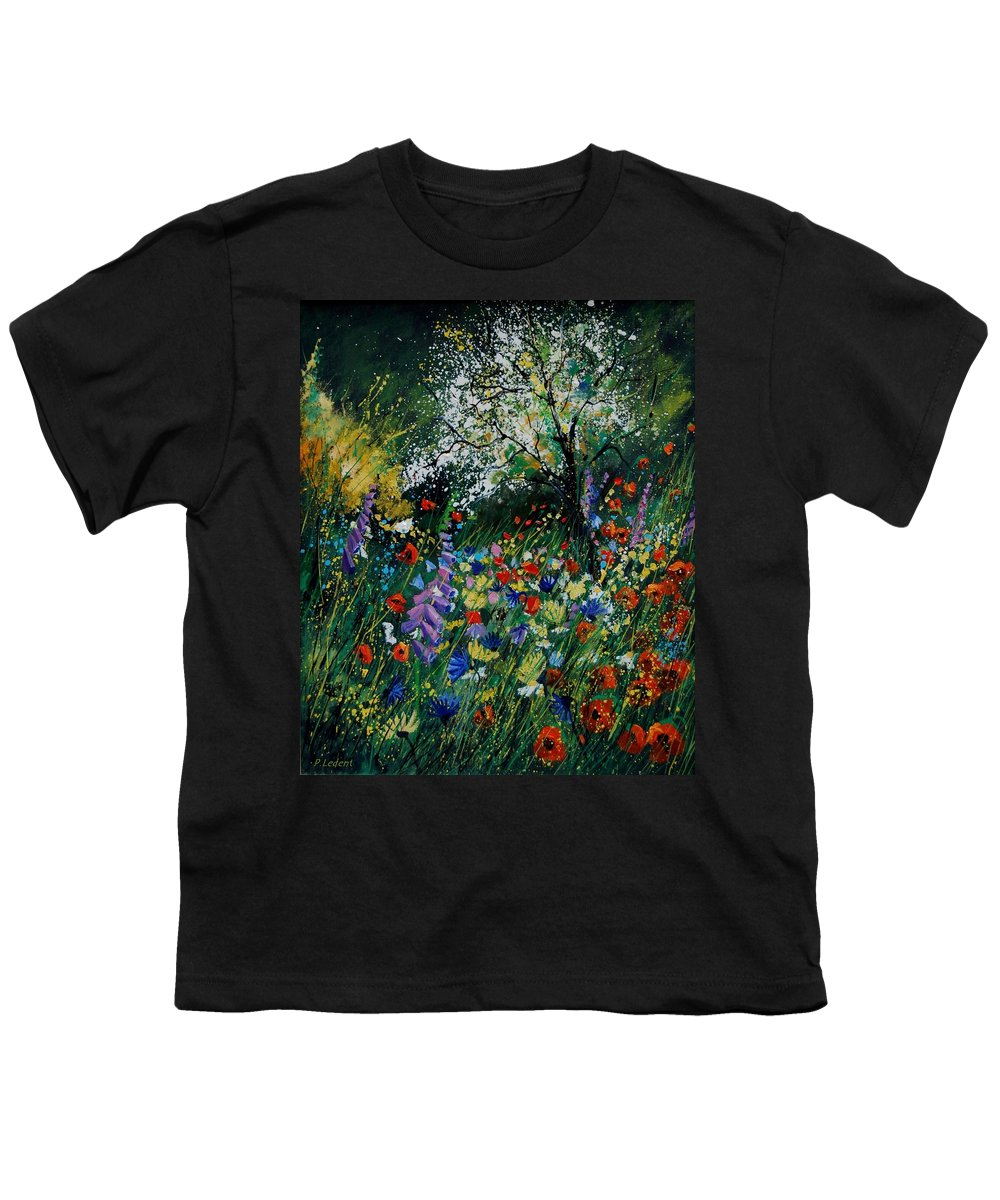 Flowers Youth T-Shirt featuring the painting Garden Flowers by Pol Ledent