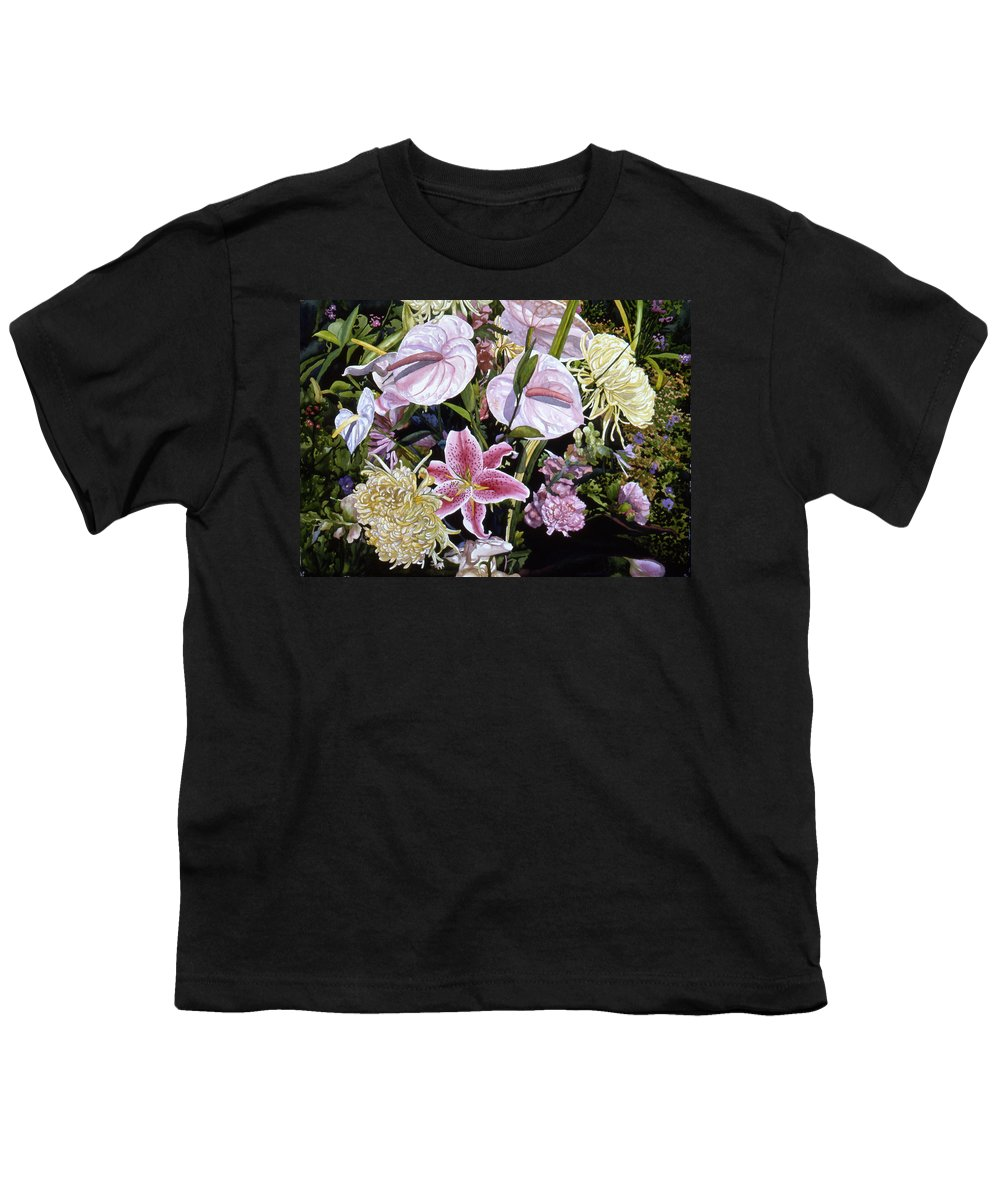Watercolor Youth T-Shirt featuring the painting Garden Song by Teri Starkweather