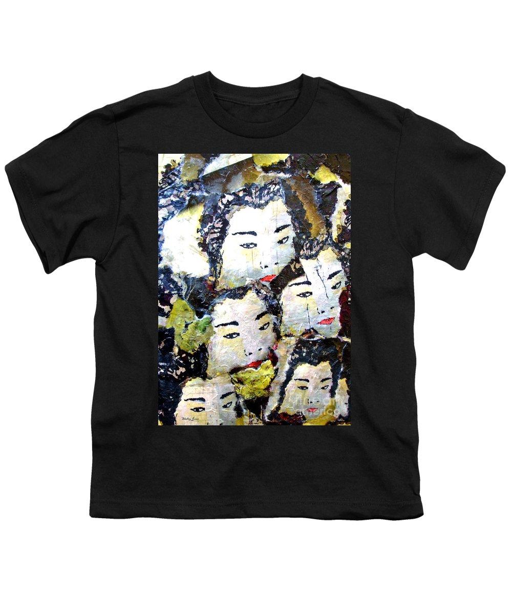 Geisha Girls Youth T-Shirt featuring the mixed media Geisha Girls by Shelley Jones