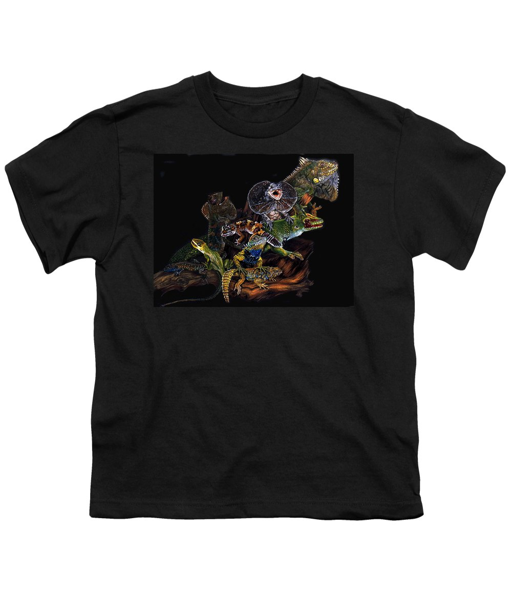 Lizards Youth T-Shirt featuring the drawing Gems And Jewels by Barbara Keith
