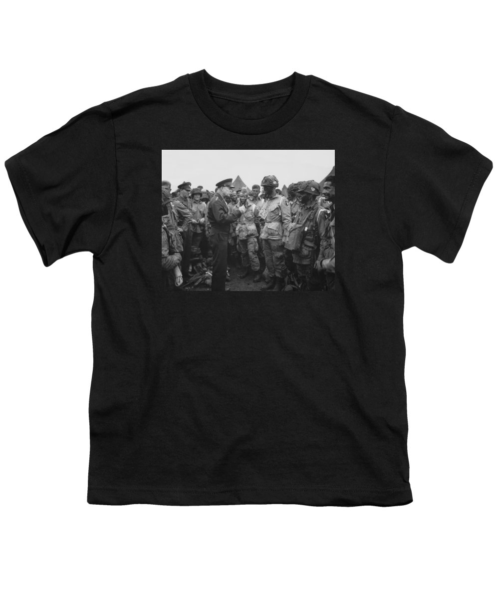 101st Airborne Division Youth T-Shirt featuring the photograph General Eisenhower On D-day by War Is Hell Store