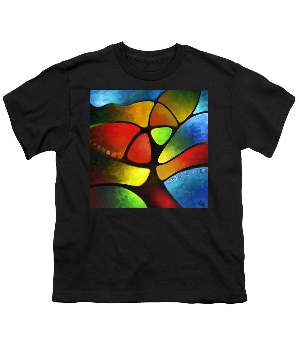 Tree Youth T-Shirt featuring the painting Geometree by Sally Trace
