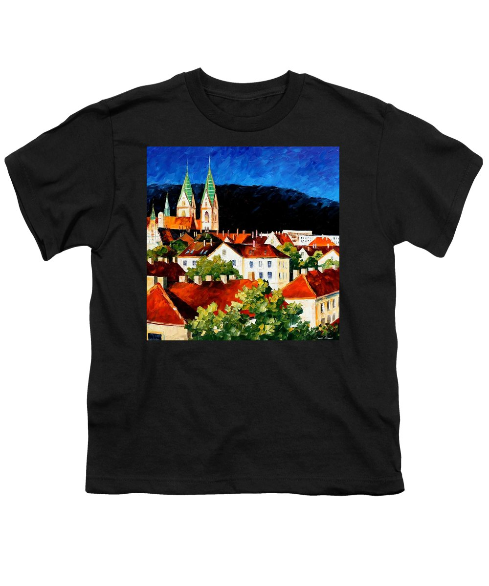 City Youth T-Shirt featuring the painting Germany - Freiburg by Leonid Afremov
