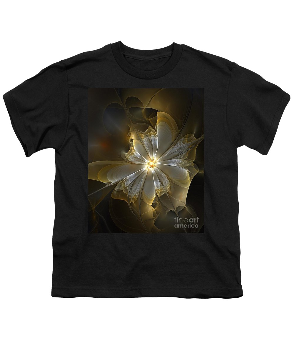 Digital Art Youth T-Shirt featuring the digital art Glowing In Silver And Gold by Amanda Moore