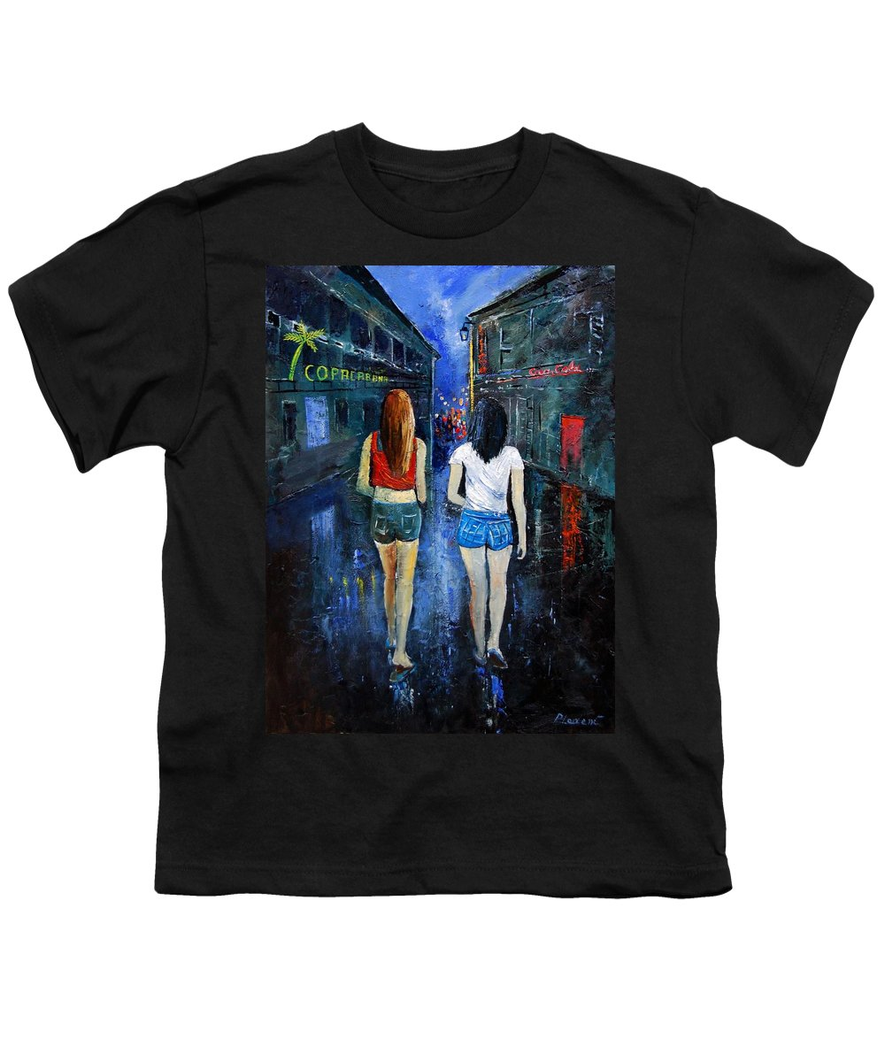 Girl Youth T-Shirt featuring the painting Going Out Tonight by Pol Ledent