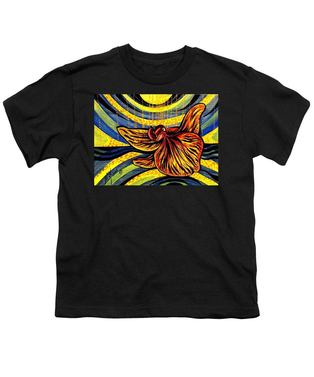 Inga Vereshchagina Youth T-Shirt featuring the painting Gold Orchid by Inga Vereshchagina