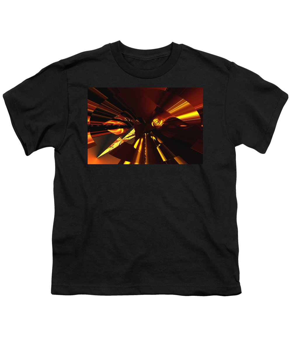Abstract Youth T-Shirt featuring the digital art Golden Brown Abstract by David Lane